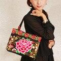 Original Nacional Das Mulheres do Estilo Chinês do Bordado do vintage Flor Artesanal Bordado Bolsa de Lona Sacos de Ombro Étnicos Totel