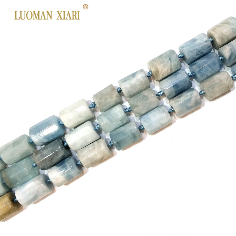 100% Natural Aquamarin Cylindrical Shaped Facted Stone Beads For Jewelry Making DIY Bracelet, Necklace Size 11*16 mm Strand 15 цены онлайн