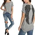 2017 Verão Novo Estilo Das Mulheres de Volta Asas de Anjo T-shirt Impressão Ocasional das senhoras O Pescoço de Manga Curta Tee Tops camisa Plus Size Blusas