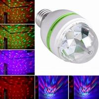 熱い販売ac85-260v e27 3ワットカラフル自動回転rgb led電球ステージライトパーティーランプディスコクラブktv