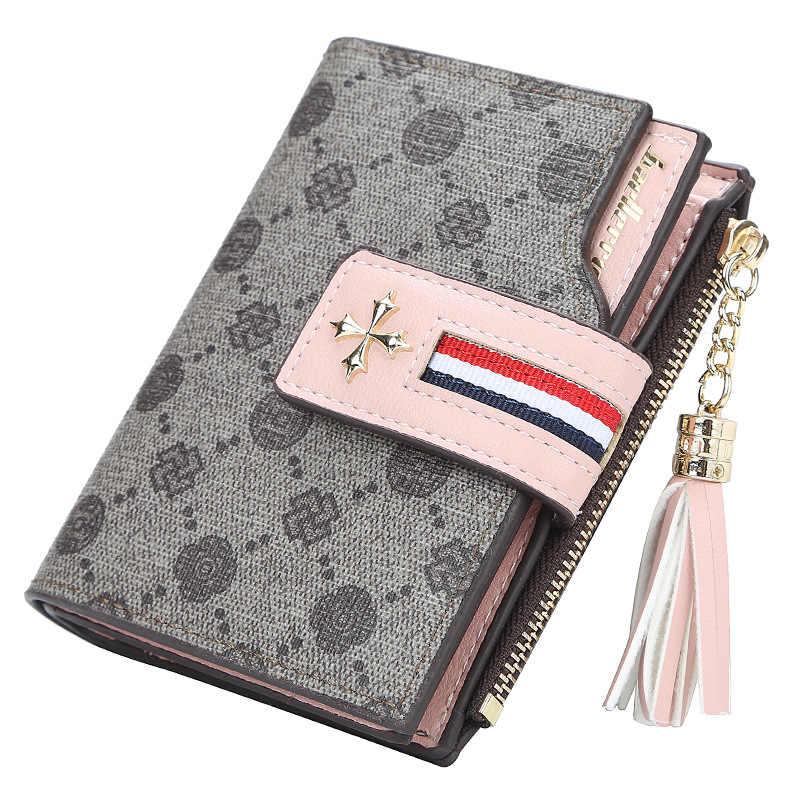 2020 moda baellerry kobiety krótka konstrukcja portfel damski zamek wysokiej jakości posiadacz karty piękny kwiatowy torebka damska Portomonee