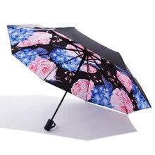 Folding umbrella Flower UV protection Sun Three-folding Umbrella Summer Hot Small Black