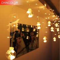 3M 138LEDS Holiday lights Wishing 8cm big ball Curtain Led Light string AC Plug Garland christmas fairy Weeding decoration DA
