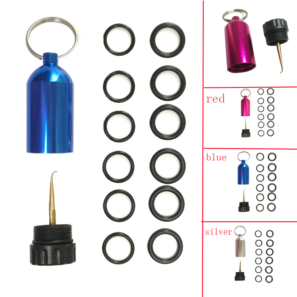 Mini Aluminum Scuba Diving Tank With 12 O Rings Brass Pick Dive Key Chain Diving Repair Kit