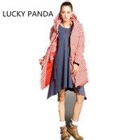 Lucky Panda 2015 Women Winnter Down Cotton Long Solid Appliques Button Pockets Red Black Zippers Down