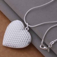 Fashion 925 Silver Memory Floating Charm Locket Necklace Heart Photo Frame Necklace For Women Colares Femininos