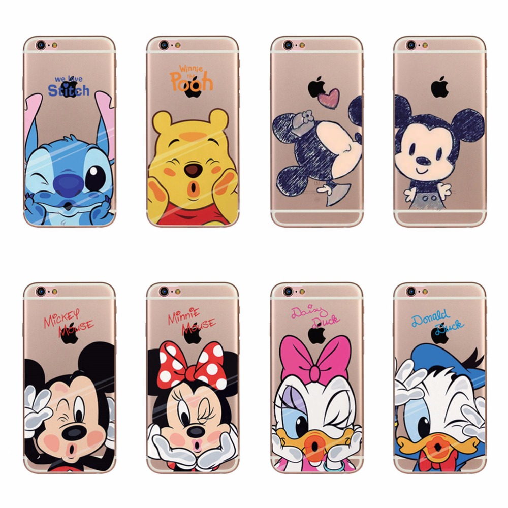 Cartoon Soft Silicone Case For Apple iPhone 7 8 5 5s SE 6 6s 7 Plus 8 Plus Mickey Minnie Mouse Donald Daisy Duck Pooh Stitch