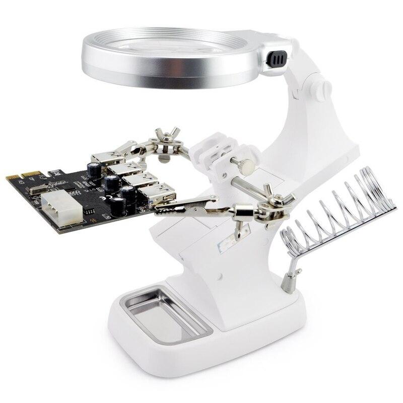 Soldadura lupa luz LED 3X 4.5X lente auxiliar Clip lupa de escritorio lupa tercera mano soldadura herramienta de reparación