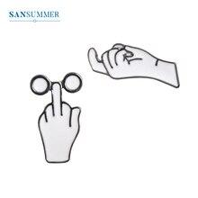 SANSUMMER Original Women Broches  New Fashion Blame Gesture Metal Brooch Jewelry Trendy Female Acessorios 5324