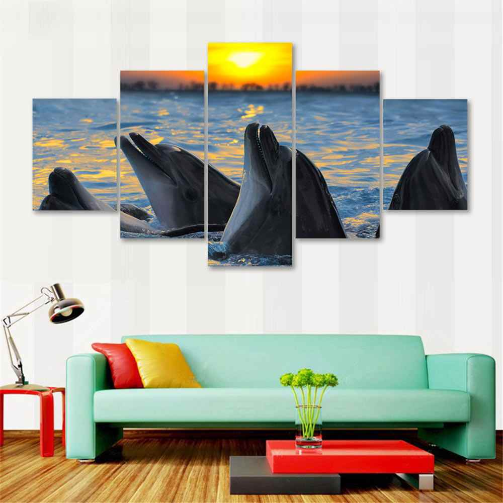 HD Print Modular Pictures Kids Room Home Decor 5 Set Watercolor Dolphin Scenery Modern Frame Wall Poster Pop Art Canvas Painting