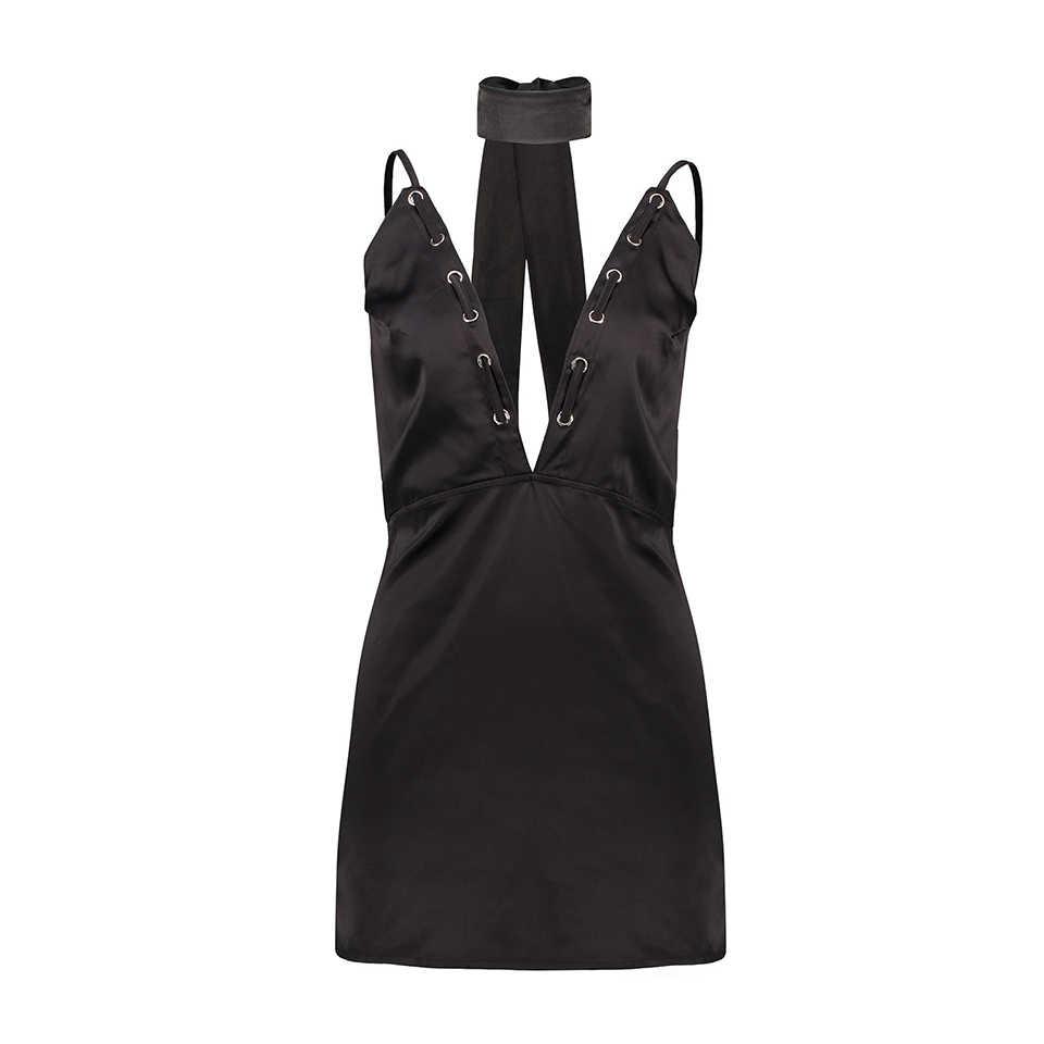 2018 여름 유럽 여성 드레스 섹시 우아한 backless 스트랩 v 칼라 dixiong 블랙 드레스 저녁 파티 여자와 여자에 대 한