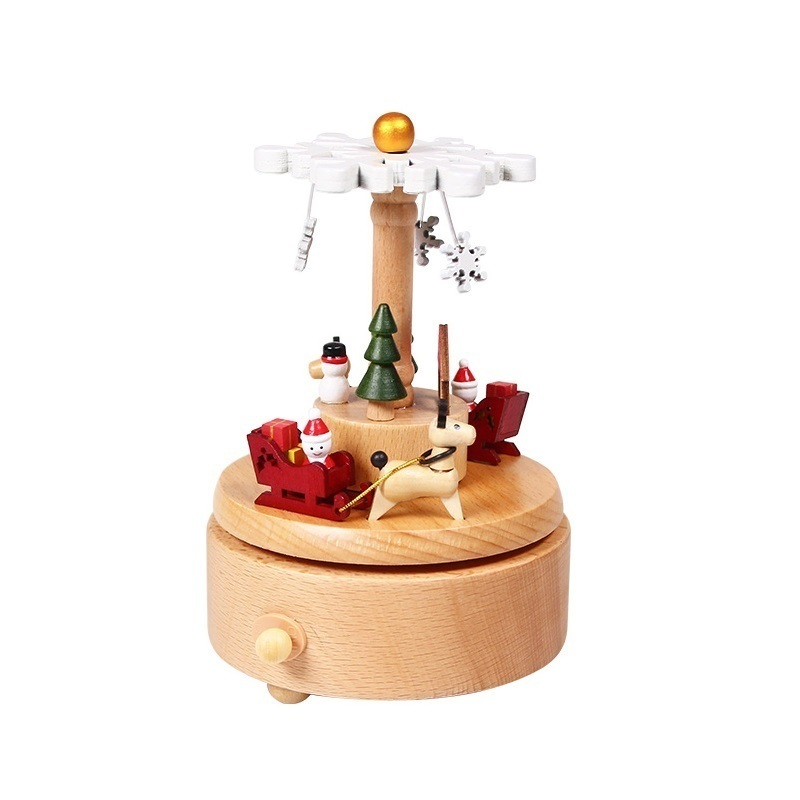 Cadeau d'anniversaire pour petite amie accessoires De décoration musicale Caixa bois carrousel Boite A Musique caja De Musica Boite à Musique