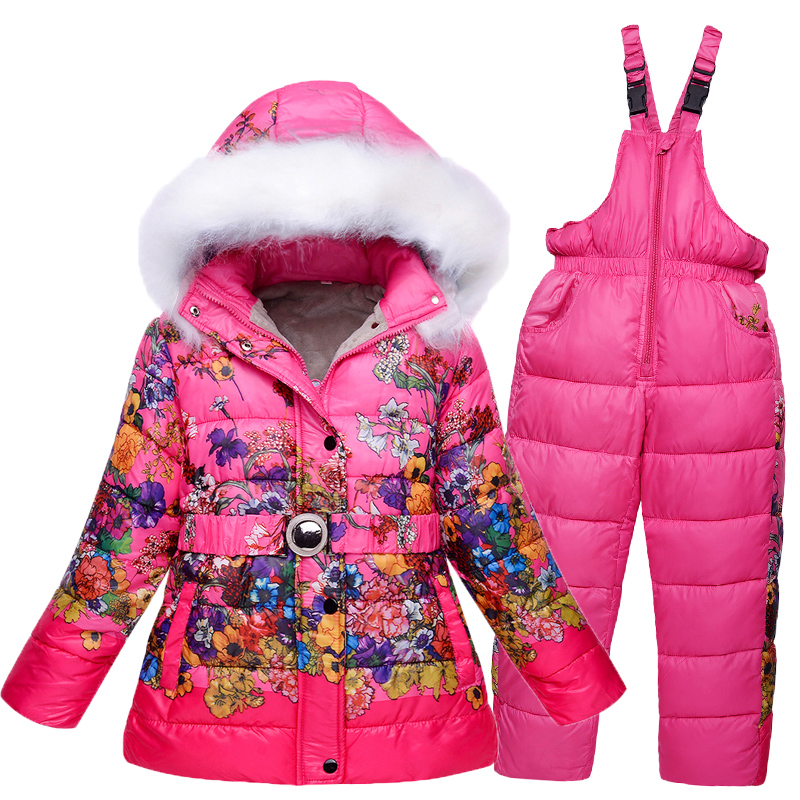 4196a9e0ed4 5-10T Girls Ski Suit Winter Children Clothing Set Thicken Fleece Flowers  Jacket Coat+