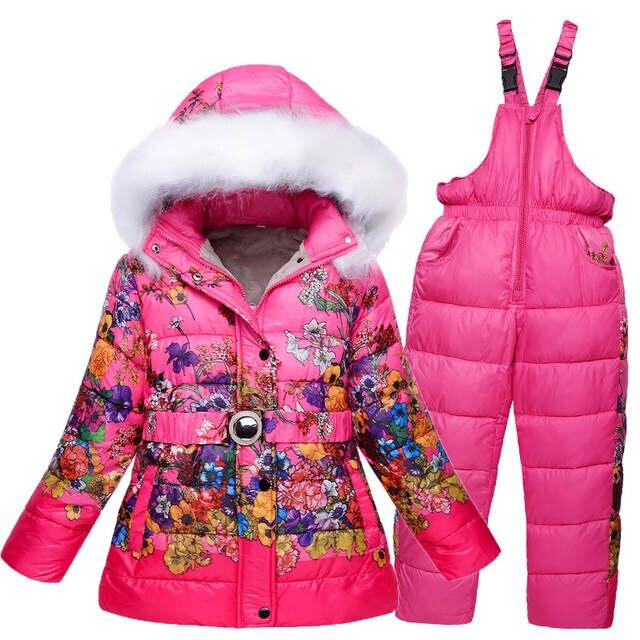 69cfa9268d76 Online Shop 5-10T Girls Ski Suit Winter Children Clothing Set ...