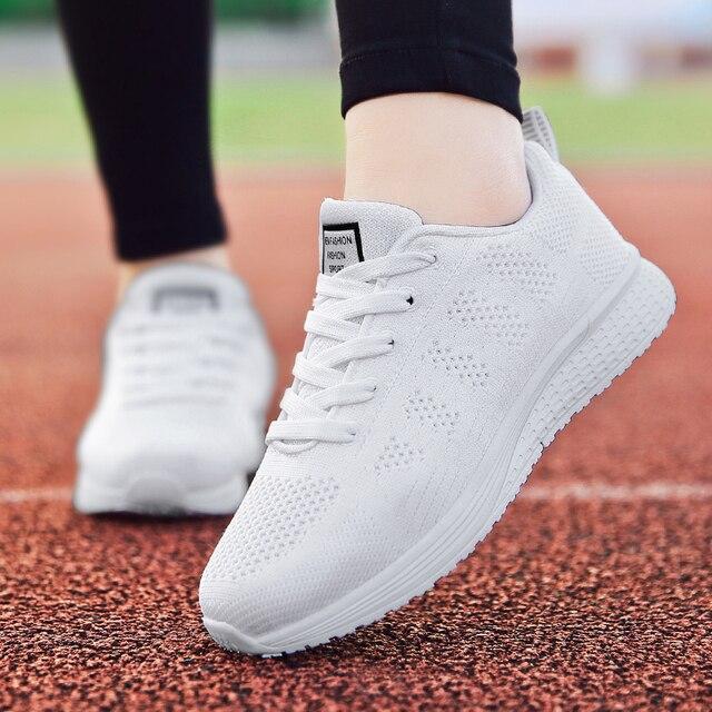 2019 tenis feminino branco vulcanizado sapatos femininos sapatos casuais moda respirável andando malha rendas até sapatos lisos 2