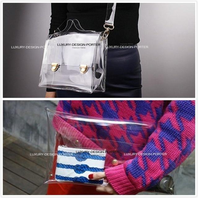 Designer Clear Clutch Transparent Handbag women messenger bag Purse Shoulder bag Silver Pouch Bolsa