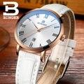 Nova pulseira de couro relógios de luxo da marca Suíça BINGER das mulheres originais ultrafinos relógio de quartzo relógio de Pulso À Prova D' Água
