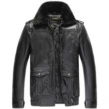VANLED Winter warm clothing cowhide Jacket men's genuine Leather jacket.thick wool
