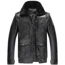 Бесплатная доставка, зимняя теплая одежда, теплые куртки, мужские из натуральной Кожаная куртка. густая шерсть пальто с мехом. большие размеры продаж