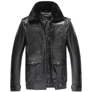 Image 1 - Freies verschiffen, Winter warme kleidung, mann rindsleder Jacke, männer echte Leder jacke. dicke wolle pelz mantel. plus größe verkäufe