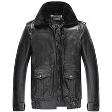Ücretsiz kargo, kış sıcak giyim, erkek inek derisi ceket, erkek hakiki deri ceket. kalın yün kürk ceket. artı boyutu satış