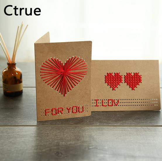 Ctrue 5 Set Diy Handmade Cross Stitch Cards Birthday Card Cross