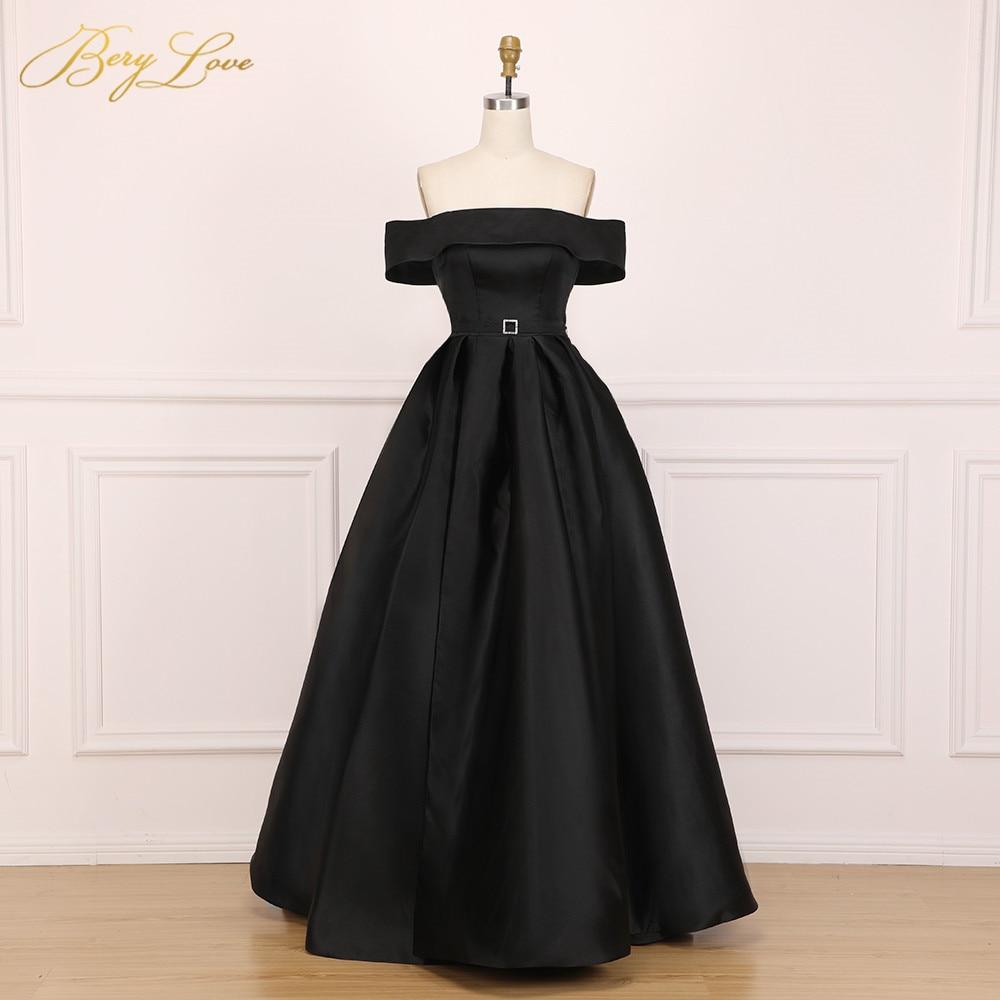 BeryLove élégant épaule dénudée Blush rose robe de soirée 2019 Satin soirée ceinture mode robe de bal fente formelle robe de soirée longue - 3