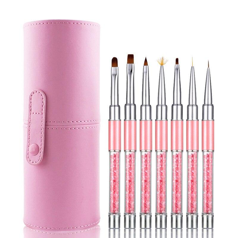 7 шт. Розовый Светодиодный УФ гель набор кистей для ногтей Ручка Акриловая кисть для рисования лайнер Гель лак для живописи прозрачный арт для ногтей инструменты для маникюра