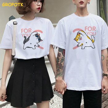 Love for You Cat and Dog Prints Couple Clothes Summer 2019 Cotton Female T-shirt Kawaii Harajuku Paired T-shirts for Men Women
