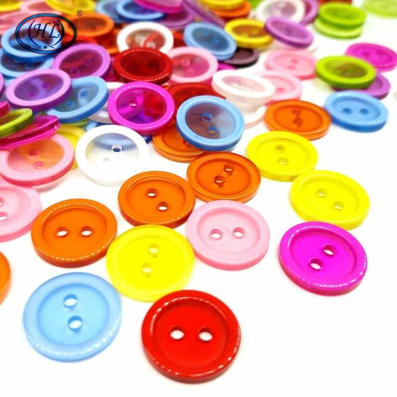 HL 50 sztuk/100 sztuk 15MM okrągłe 2 otwory przyciski z żywicy Flatback DIY rzemiosło odzież dziecięca akcesoria krawieckie do ubrań