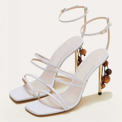 String Bead Women Sandals Runway Square Toe Summer Sandals Narrow Bands Thin High Heels Party Shoes White Shoes Sandalias Mujer Lahore
