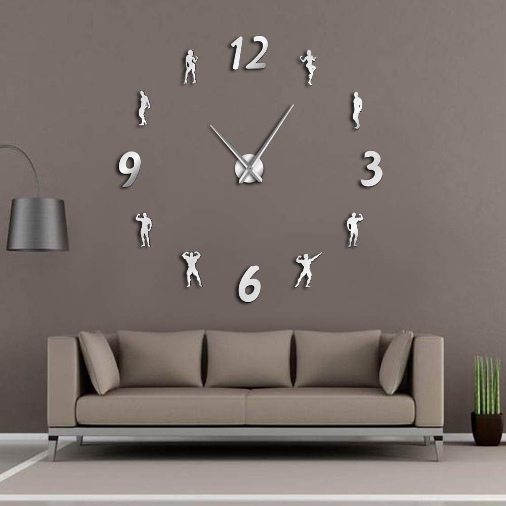 GYM Large Wall Clock DIY Frameless Wall Watch Clock Modern Design Fitness Room Wall Art Bodybuilding DIY Clock Enthusiasts Gift