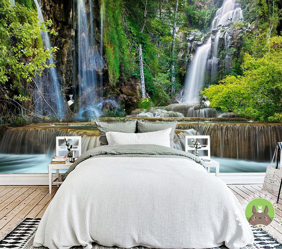 Benutzerdefinierte Wallpaper Für Wände 3 D Foto Natürliche Wasser  Produktion Wasserfall TV Wand Für Wohnzimmer Schlafzimmer