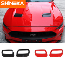 SHINEKA For Ford Mustang 2018 Carbon Fiber Red Auto Engine Cover Fit For Ford Mustang 2018+ Air Outlet Decoration Trim Sticker цены онлайн