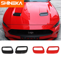 SHINEKA For Ford Mustang 2018 Carbon Fiber Red Auto Engine Cover Fit For Ford Mustang 2018+ Air Outlet Decoration Trim Sticker