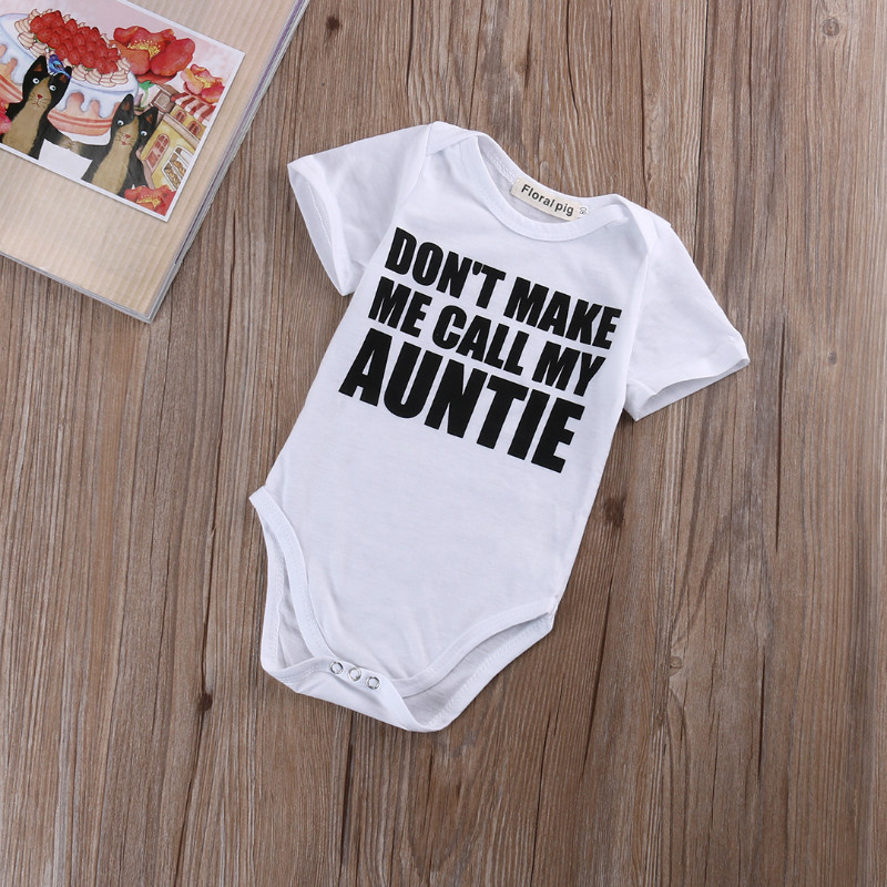 Newborn Infant Kids Baby Boy Girl Bodysuit Letters Printed Lovely Baby Bodysuits Jumpsuit Short Sleeve Baby Summer Clothes 0-18M