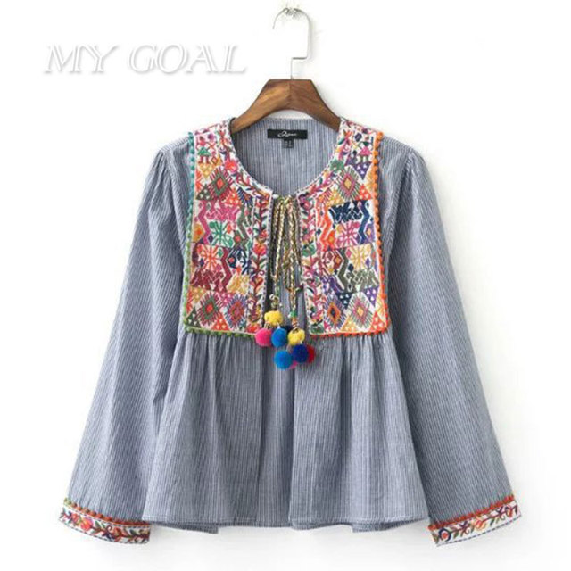 Ethnic Striped Print Geometric Embroidery Shirt Summer jacket Strappy ball tassel Cardigan Blouse Top chemise Long Sleeve Blouse