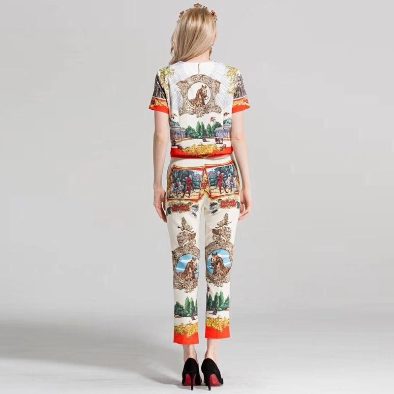 Ensemble Color Ensembles Pièce Blouse Pantalon Motif Cheville Costume Courtes À Femme Picture 2 Mode Impression De Manches Nouveau longueur Designer 2018 picture Color Vintage xSUqXH16