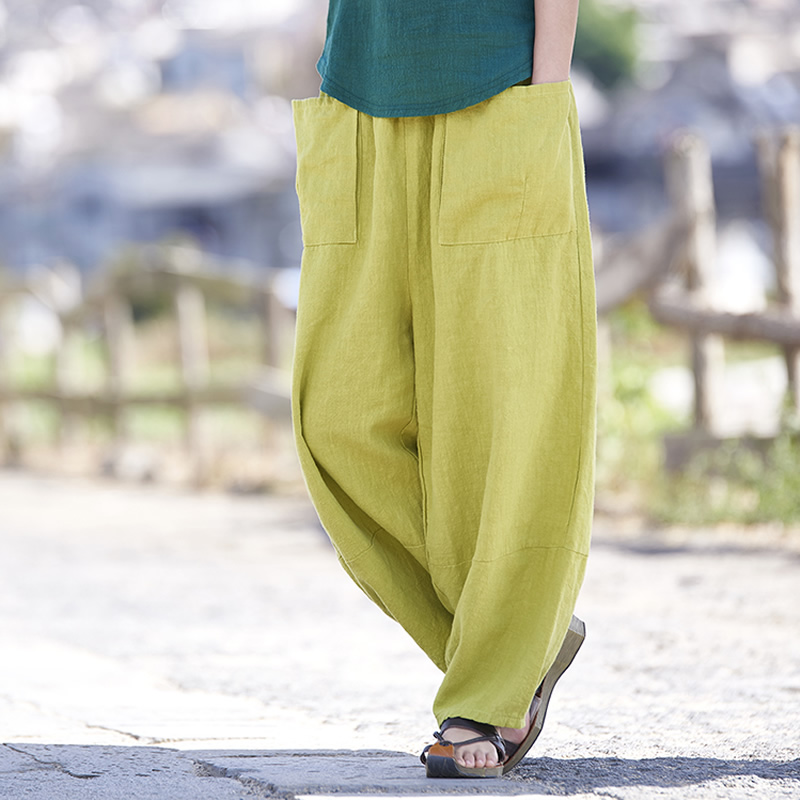 Elastic waist Cotton Linen Women Harem Pants Solid Yellow Red Gray Casual Summer Pants Capri Novelty design Harem Trousers B173