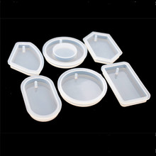 SNASAN 6pieces Silicone Mold for jewelry with hole big pendants Resin epoxy Mould handmade tool DIY