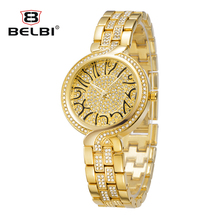 BELBI Watch Luxury Brand Women Quartz Watch Fashion Gold Steel Watch Full Rhinestone Dress Wristwatches Jewelry