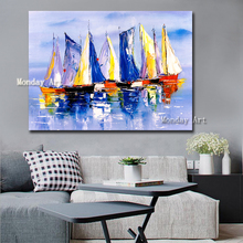 Large Size Hand Painted Abstract sailboat Oil Painting On Canvas landscape painting Wall Picture Living Room Bedroom Home Decor