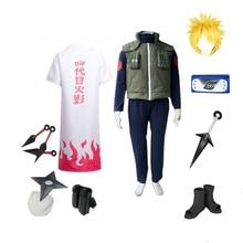 Brdwn Наруто Konoha Hokage Namikaze Минато косплей костюм полный комплект(костюм+ жилет+ плащ+ повязка на голову+ обувь+ кунай+ сумка+ шурикен