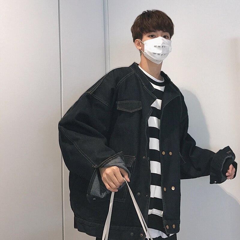 2018 Spring Newest Mens Fashion Korean Style Metal Button Decoration Wash Denim Jacket Loose Black/Bule Color Jean Coats M-XL