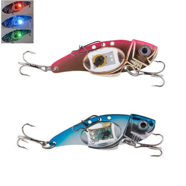 2 Colors Flashing LED Light Deepwater Pesca Fishing Lure Bait Fish Crankbait Lamp