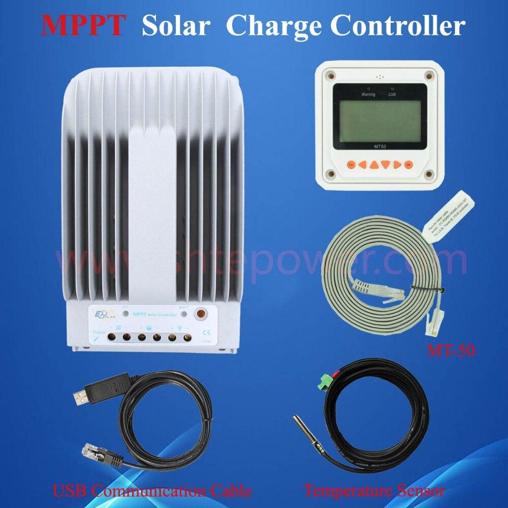 Vente chaude 40A 12 V 24 V Nouveau Traceur 4215BN 40 ampères Programmable MPPT de Charge Solaire Contrôleur avec PC USB Câble et capteur de Température