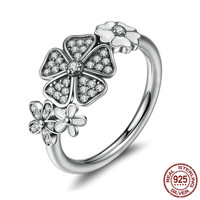 925 Sterling Silver Cherry Sakura Flower Ring With CZ Inlaid Fashion Jewelry Engagement Wedding Sliver Rings
