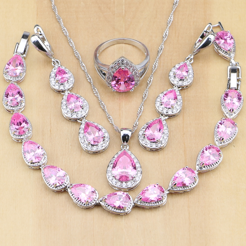 925 Sterling Silver Bridal Jewelry Pink Cubic Zirconia Jewelry Set Wanita Pernikahan Panjang Earrings / Pendant / Kalung / Cincin / Gelang