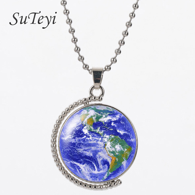 Suteyi hot rotating glass dome jewelry vintage globe double face suteyi hot rotating glass dome jewelry vintage globe double face necklace world map necklace art glass gumiabroncs Choice Image