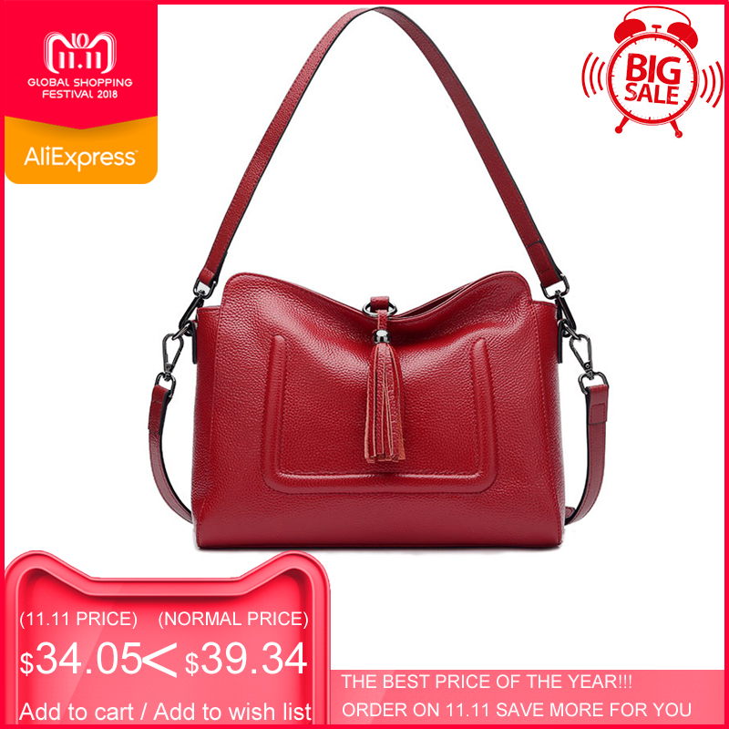 цены на ESUFEIR Brand Genuine Leather Messenger Bag for Women Fashion Tassel Shoulder Bag Soft Cow Leather Satchels Women Crossbody Bag в интернет-магазинах